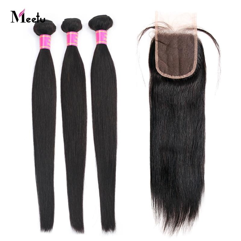 Meetu Indian Straight Hair Bundles With Closure Human Hair Bundles With Closure Non Remy 3 Bundles With Closure 4x4 Lace Closure