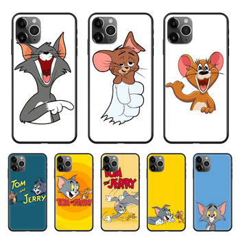 Lovely Tom Jerr Cat and Mouse Phone Case cover For Iphone 11 7 8 XR 5 5C 5S 6 6S PLUS X XS PRO SE 2020 MAX black cover tpu image