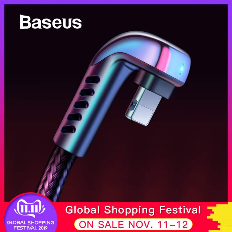Baseus USB Cable for iPhone XR 2.4A Elbow Green LED Fast Charging Cable for iPhone 11 X 8 7 6 6s Plus IOS Data Charger USB Cable-in Mobile Phone Cables from Cellphones & Telecommunications on AliExpress - 11.11_Double 11_Singles' Day