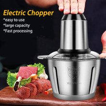 300W Stainless Steel Electric Chopper Meat Grinder 2L Capacity Food Mincer Processor Slicer Electric Kitchen Chopper 2 Speeds