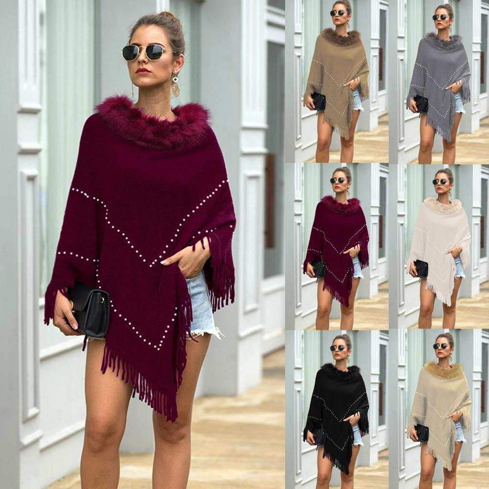 NEUE Mode Frauen Winter Gestrickte Kaschmir Poncho Capes Schal Strickjacken Solide Unregelmäßige Pullover Mantel Mantel Freeship Пальто image