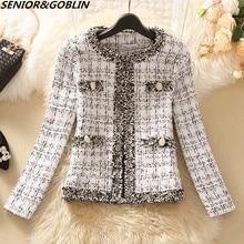 Женское элегантное приталенное пальто в клетку с длинным рукавом, винтажное деловое твидовое пальто черного и белого цвета, Осень-зима 2020