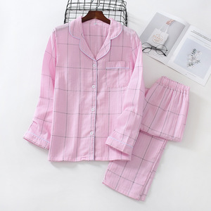 Image 3 - Fresh plaid 100% gauze cotton lovers pajama sets women and men  Autumn long sleeve casual sleepwear women pyjamas