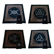 50x50cm Art Tarot Pagan Altar Cloth Flannel Tablecloth Divination Cards Square Tapestry Decor Table Cover