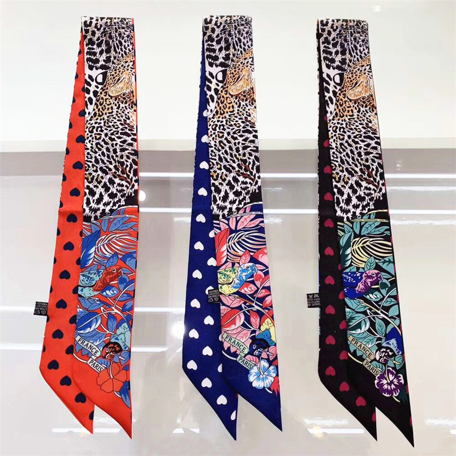 Leopard Parrot Heart Spring Skinny Scarf Women Luxury Brand Bag Scarves 2020 New Design Summer Neckerchief Silk Scarf For Ladies