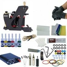 купить Complete Tattoo Machine Set Cosmetic Permanent Makeup Single Gun Kit Tattoo Tool 6 Colors Inks дешево