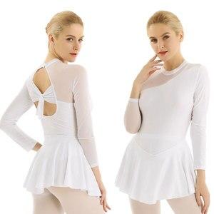 Image 4 - Women Professional Lyrical Gymnastic Leotard Figure Skating Dress Modern Ballet Ballroom Dance Costumes Halter Backless Dresses