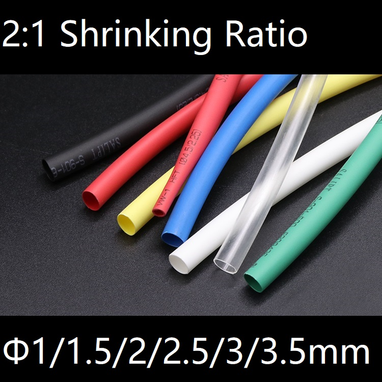 Dia 1mm 2mm 3mm Heat Shrink Tube 2:1 Polyolefin Thermal Cable Sleeve Insulated Wire Protector Wrap Cover DIY Connector Repair