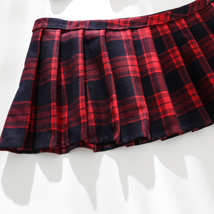 Image 5 - Sexy Keyhole School Girls Lingerie Womens Student Uniform With Front Tie Plaid Mini Skirt Red Exotic Costumes Role Play