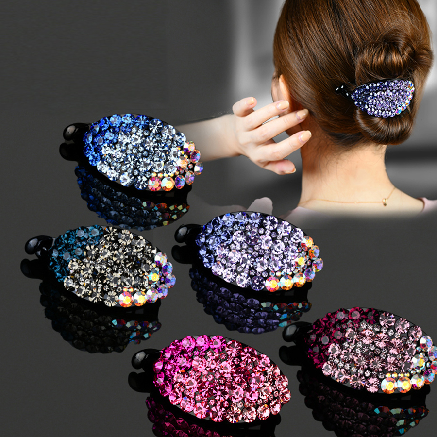 Haimekang Women Vintage Hairpin Headdress Shiny Rhinestone Hair Clip Fashion New Barrette Crystal Hairpin Hair Accessories