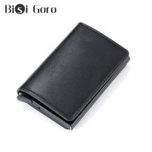 BISI GORO RFID Antitheft Security Credit Card Holder Aluminum Box Pop-Up Clutch Wallet Card Case For Men And Women Drop-shipping(China)