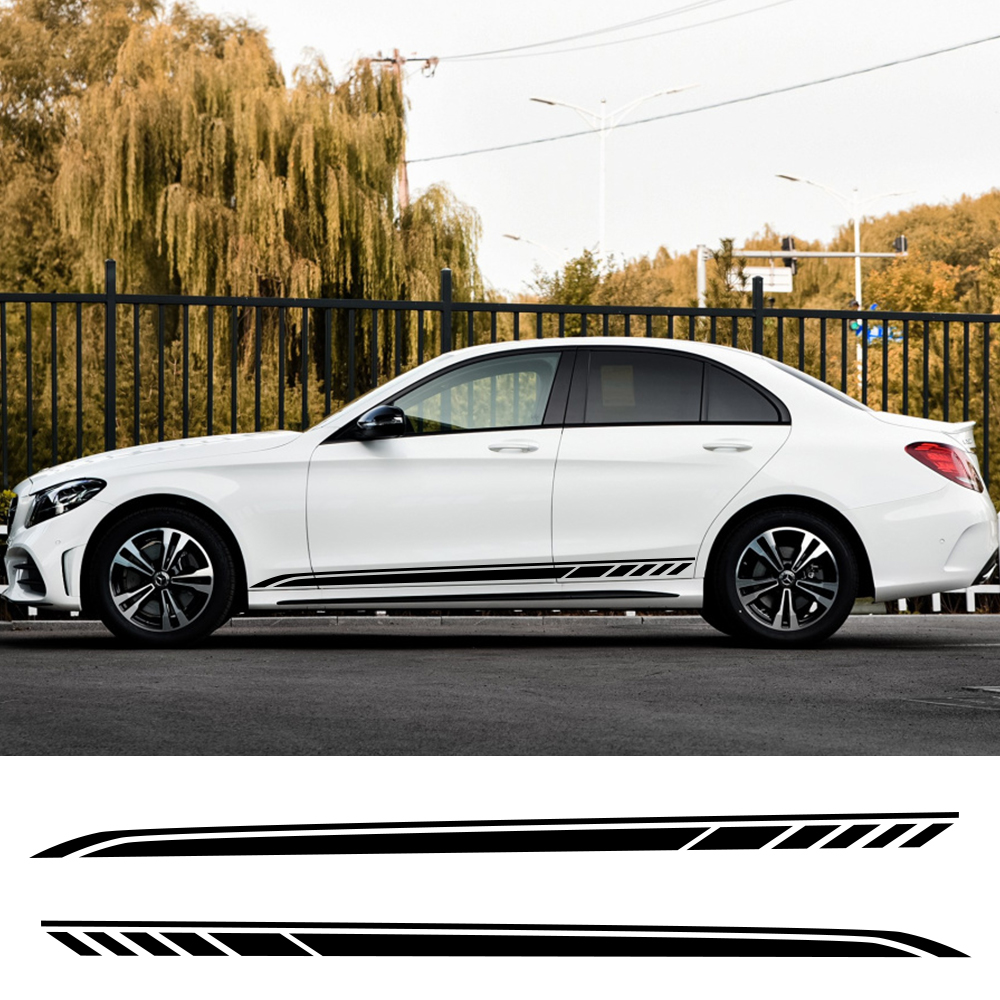 Car Side Stripe <font><b>Stickers</b></font> For Mercedes Benz W205 W204 W203 W212 C Class C180 <font><b>C200</b></font> C300 C63 Vinyl Styling Tuning Car Accessories image