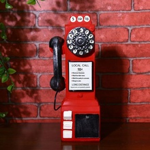 Teléfono antiguo estilo hucha Vintage cabina de teléfono figurita llamada teléfono KYY9004