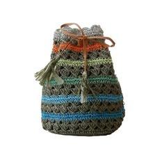4PCS / LOT Women Striped Bohemian Straw Backpacks Beach Bag For Teenagers Ladies Girl Travel Knitting Tassel Bagpack Mochila