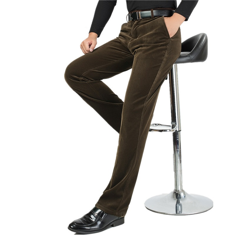 Autumn Men High Waist Super Loose Corduroy Pants Business Casual Pants Straight Elastic Trousers Middle-aged Corduroy Trousers