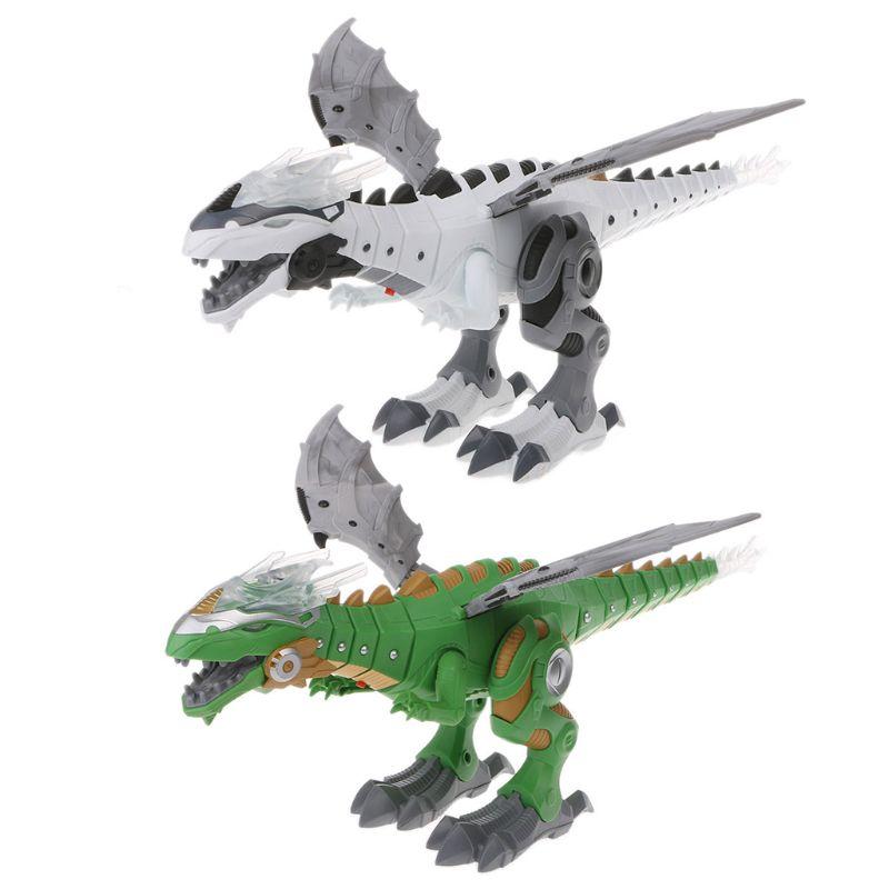 Amazing Spray Electric Dinosaur Toy Walking Spray LED Light Up Sound Dinosaur Toy Dinosaur Robot Model Boy Toys