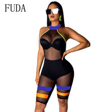 FUDA Plus Size S-XXL Off Shoulder Backless Transparent Mesh Jumpsuit Summer Women Bodycon Bodysuit Party Beach Outfit Clothes