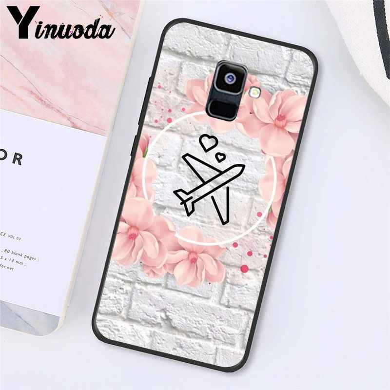 Yinuoda Love Travel World สีชมพูกระดาษเครื่องบินเครื่องบินสำหรับ Samsung Galaxy A7 A50 A70 A40 A20 A30 A8 a6 A8 PLUS A9 2018