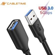 تمديدات كابلات USB من CABLETIME 3.0 إلى كابل USB M/F 5Gbps للتلفزيون الذكية PS4 X box SSD USB موسع بيانات الحبل C267