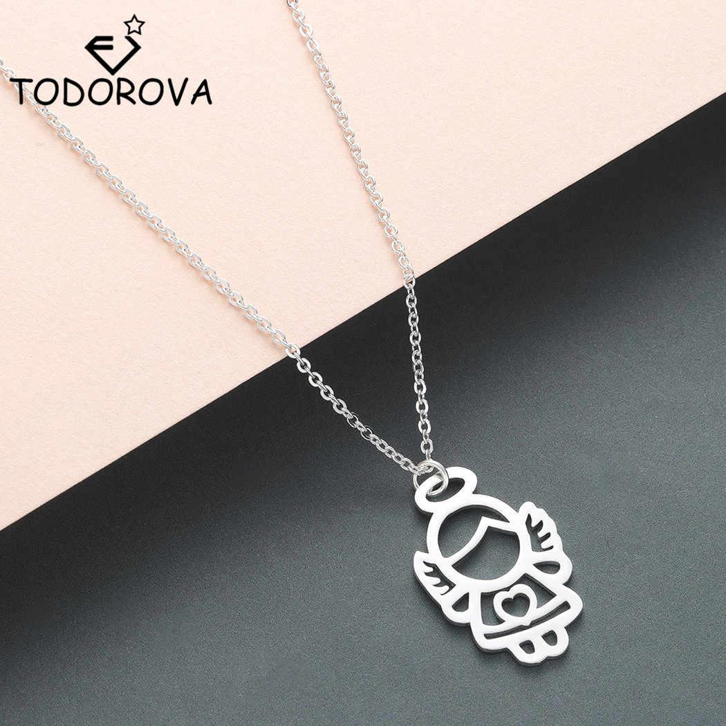 Todorova женское ожерелье с крыльями ангела и сердцем, минималистичное ожерелье с подвеской в виде ангела и маленькой сказочной феи, ювелирные изделия из нержавеющей стали, bijoux