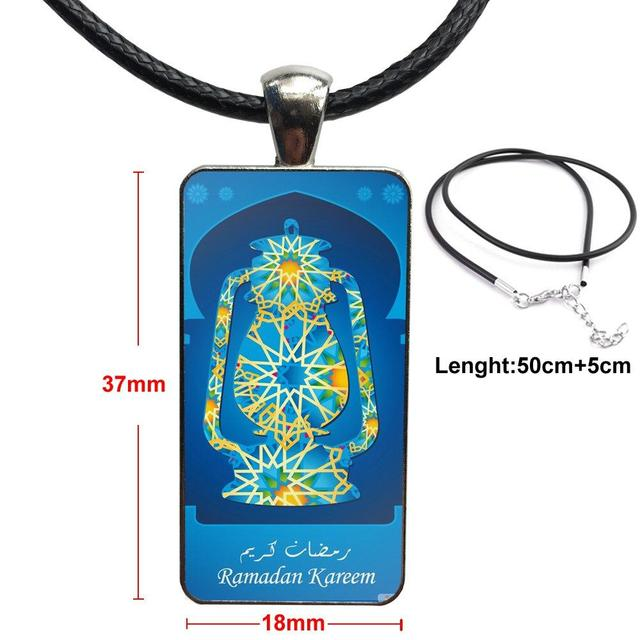 Cabujón de cristal de Color de acero con collar de Gargantilla con forma de rectángulo para las mujeres de la boda de la mezquita del Islam Ramadan Kareem