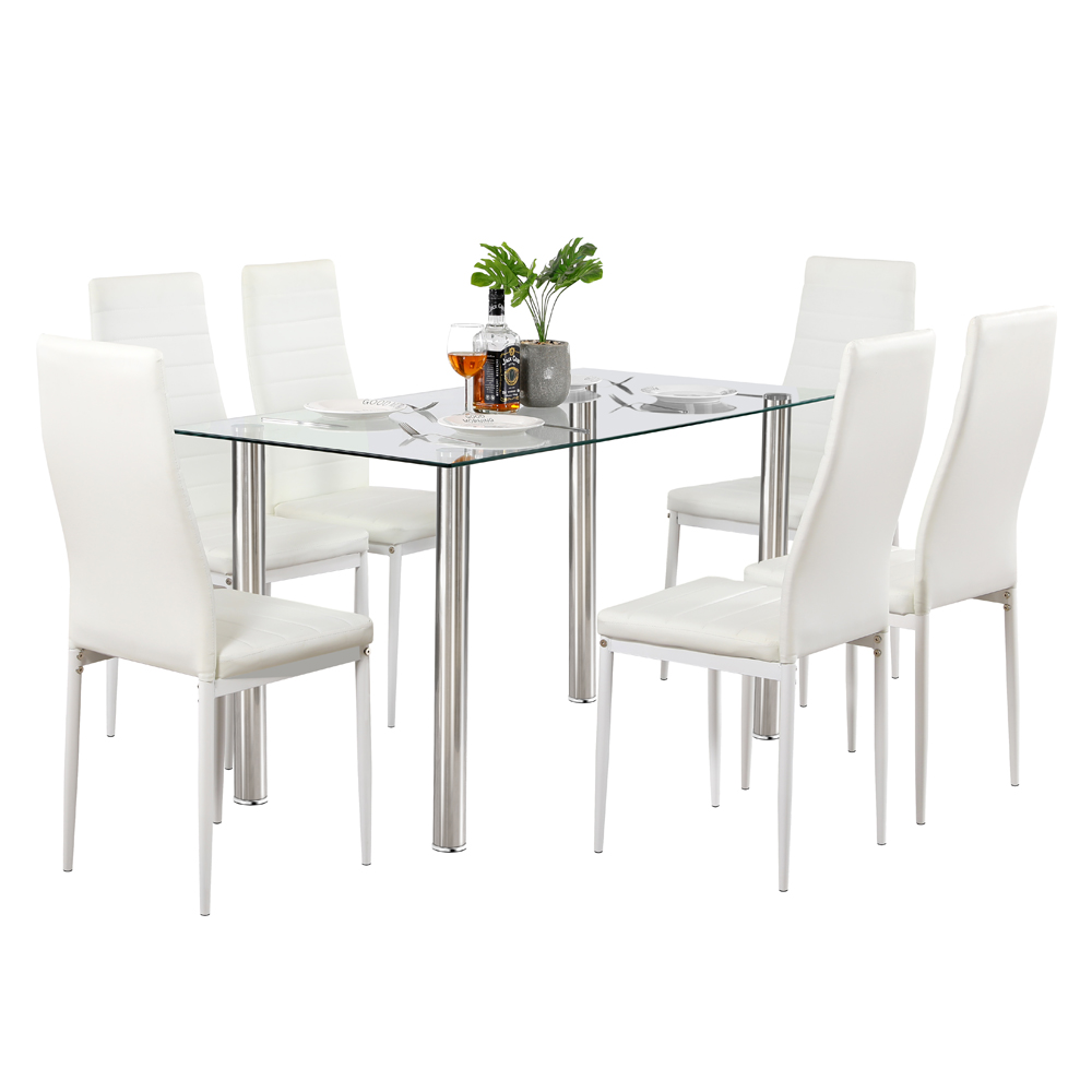 Dining Table Set Simple Transparent Glass&Iron Dinner Table + 6pcs Elegant Stripping Texture High Backrest Dining Chairs White 1