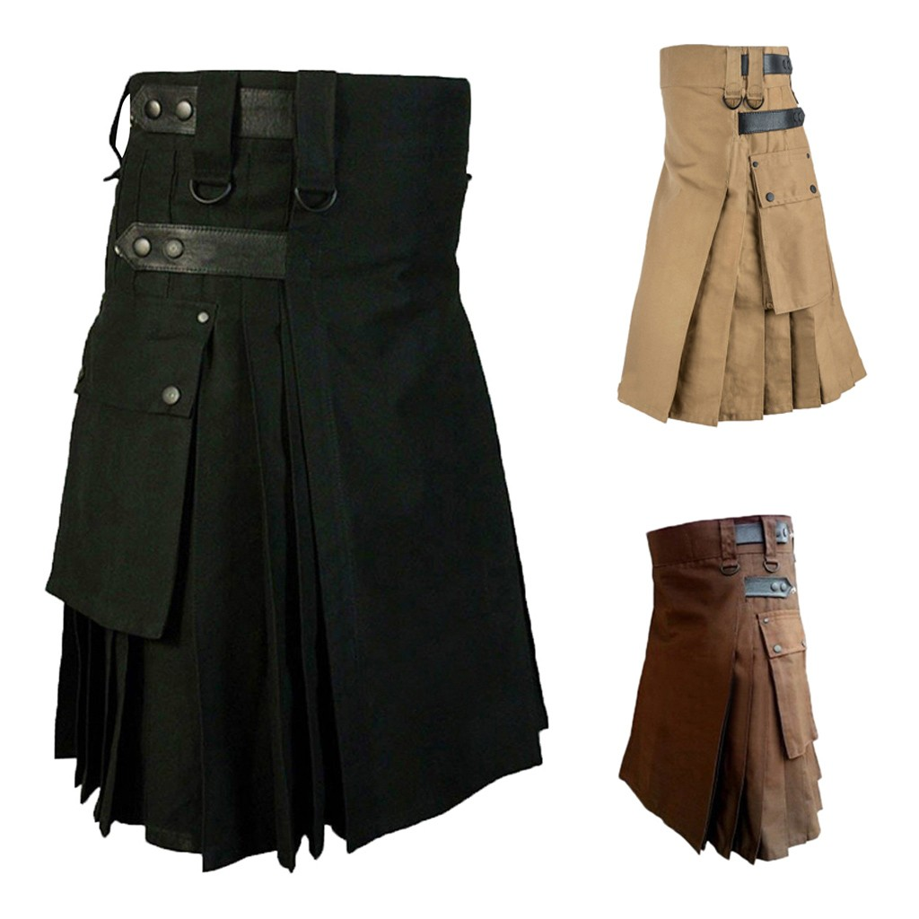 JAYCOSIN Customizable Pants Mens Vintage Kilt Scotland Gothic Kendo Pocket Skirts Scottish Clothing Pleated Skirt Pants 19Sep04