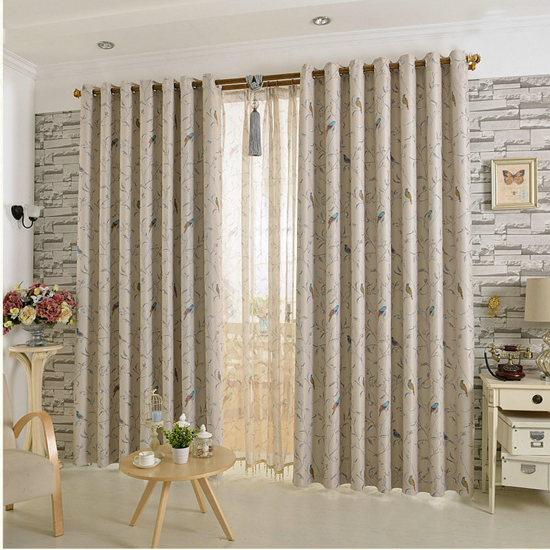 New Arrival Room Darkening Printing Flower And Bird Curtain  For Living Room Bedroom Blackout  Free Shipping For Home Decoration