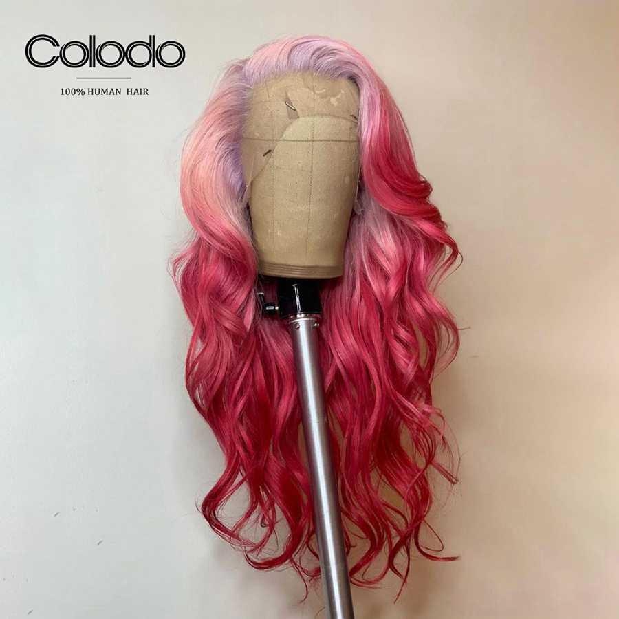 COLODO 13x4 Lace Front Pruik Braziliaanse Ombre Lace Front Pruik Met Babyhair Remy Haar Oranje Gekleurde Menselijk Haar pruiken Voor Zwarte Vrouwen