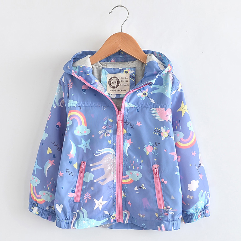 New Spring Girls Jackets And Coats Hooded Unicorn Rainbow Pattern Kids Windbreaker Autumn For Girl Children Coat