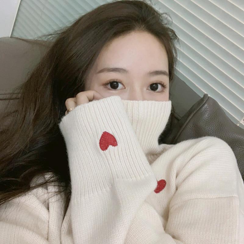 JVCAKE Women's Sweaters Casual Red Love Heart Embroidery Turtleneck Pullovers Women Long Sleeve High Street Jumpers Winter
