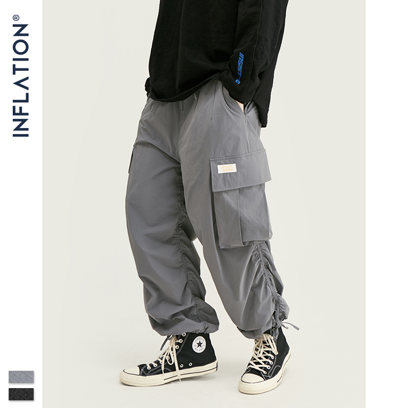 INFLATION Fashion Pleated Jogger Pants Men Streetwear Loose Solid Track Pant 2019 FW Hip Hop Loose Fit Harem Trousers Men 93452W