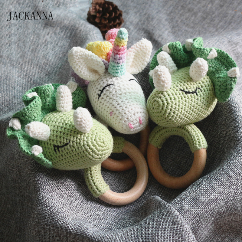 Crochet Dinosaur Unicorn Baby Rattle Teether Wooden Ring Handmade Chew Toy BPA Free Wood Teething Nursing Gifts Baby Teether Toy