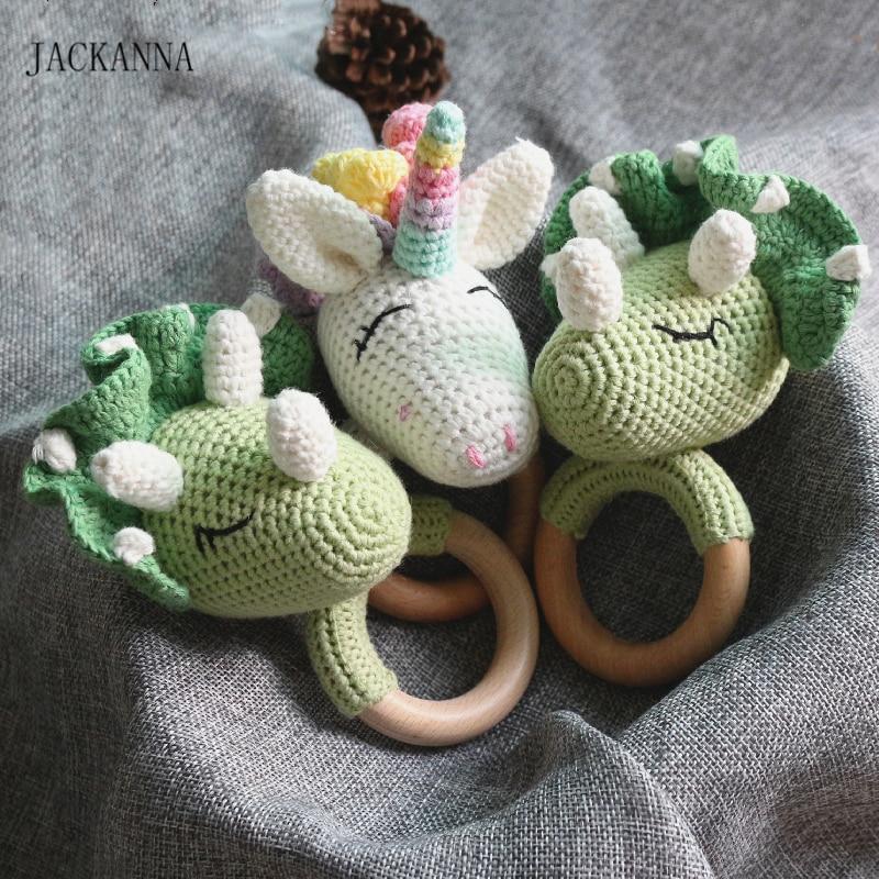 Crochet Dinosaur Unicorn Baby Rattle Teether Wooden Ring Handmade Chew Toy BPA Free Wood Teething Nursing Gifts Baby Teether Toy