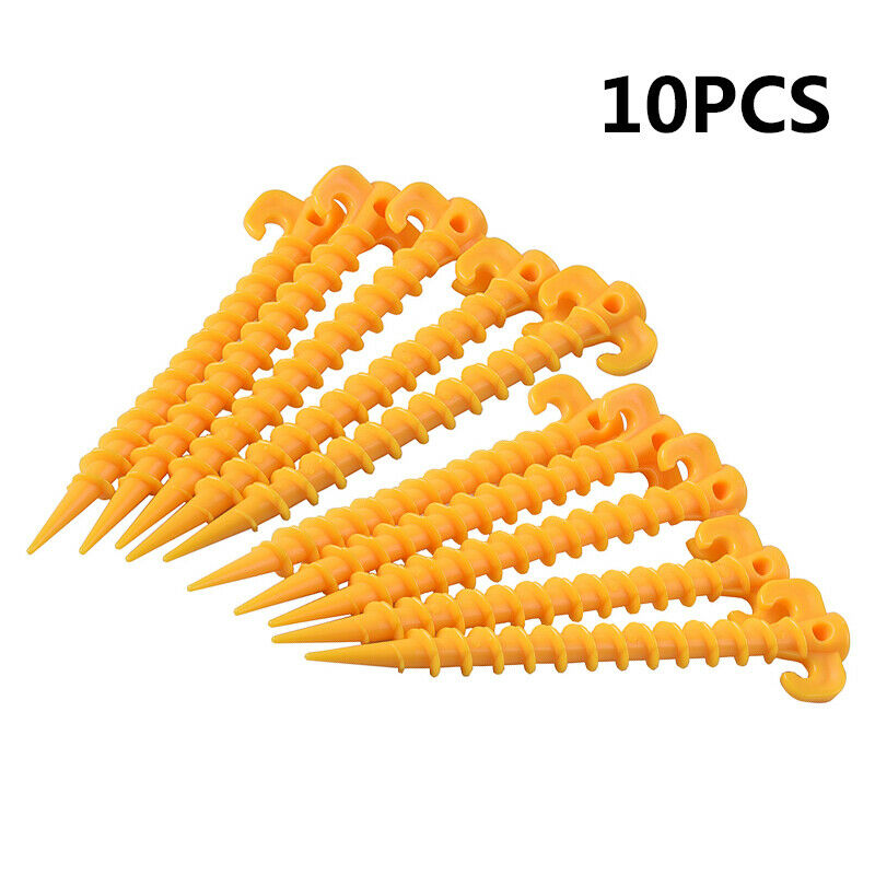 10PCS Hook Plastic Stakes Support Ground Nails Tent Peg Screw Anchor Shelter Tent Accessories