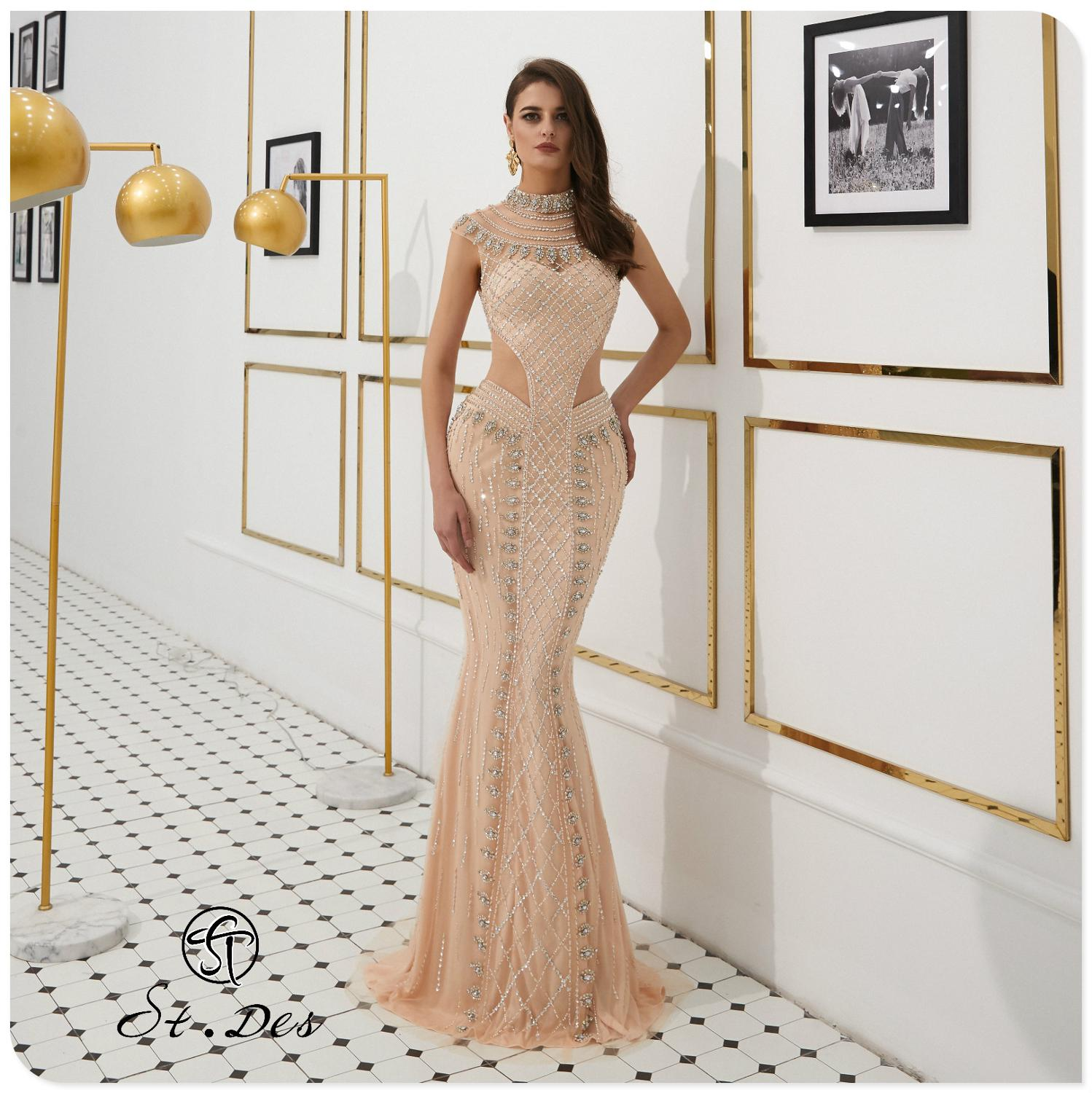 NEW 2020 St.Des Mermaid Round Neck Russian Champagne Beading Sleeveless Designer Floor Length Evening Dress Party Dress