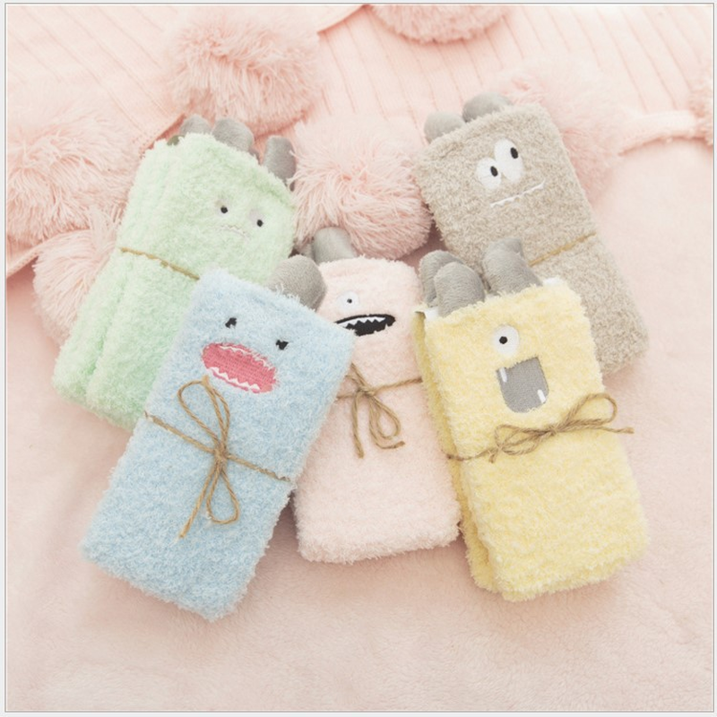Cute Little Monster Cartoon Fuzzy Socks Women Coral Velvet Medium Tube Funny Socks Cotton For Winter And Autumn Keep Warm 73