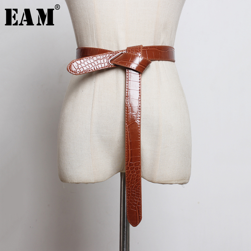 [EAM]  Pu Leather Multicolor Knot Split Long Asymmetrical Belt Personality Women New Fashion Tide All-match Spring 2020 1M833