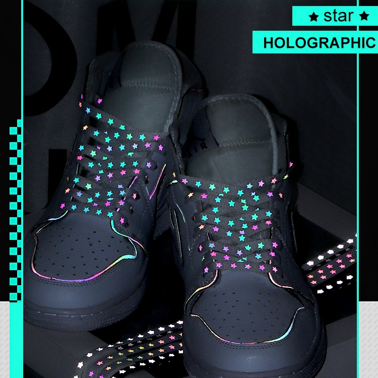 New Holographic Reflective Shoelaces Cool Sneakers Running Shoes Lace For Adult Children Sports White Star Shoelace Strings