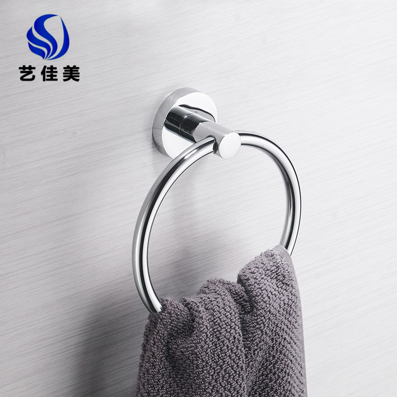 Stainless Steel Bathroom Towel Ring Hole Punched Toilet Towel Rod Nailless Washbasin Towel Rod Rack