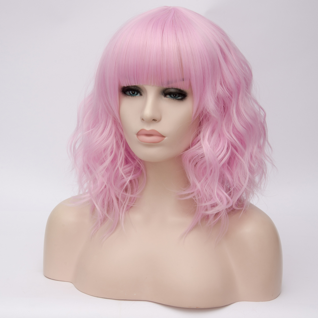 Hf2b8b875c5b84af5a30b087ea4280959m - Similler Short Synthetic Wig for Women Cosplay Curly Hair Heat Resistance Ombre Color Blue Purple Pink Green Orange Two Tones