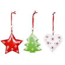 3PCS Christmas Hanging Ornaments Tree Star Heart-shape Decoration For Party Home Window Decor