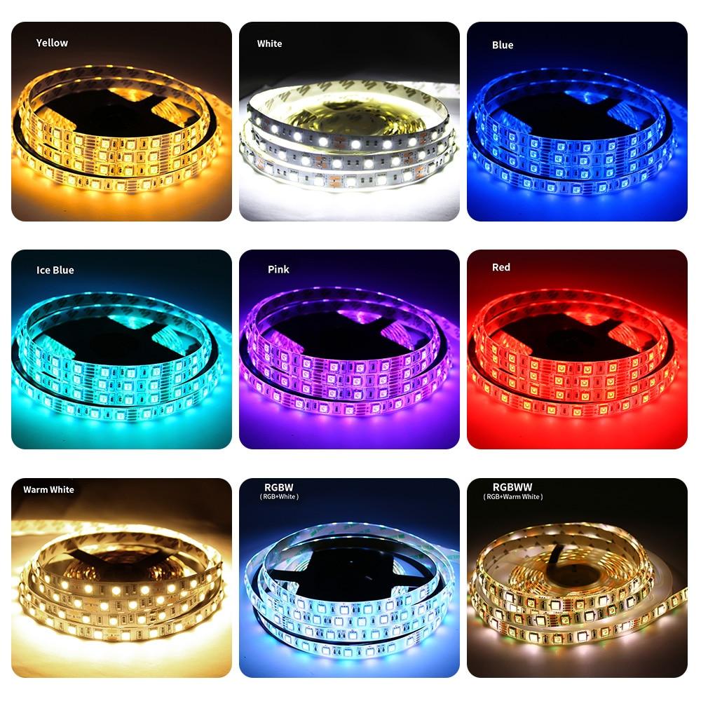 5050 2835 Rgb Led Strip Light 12v 5m 60led/m 12 V Led Light Strips Rgb Tape Neon Waterproof Tv Backlight Warm White Ledstrip