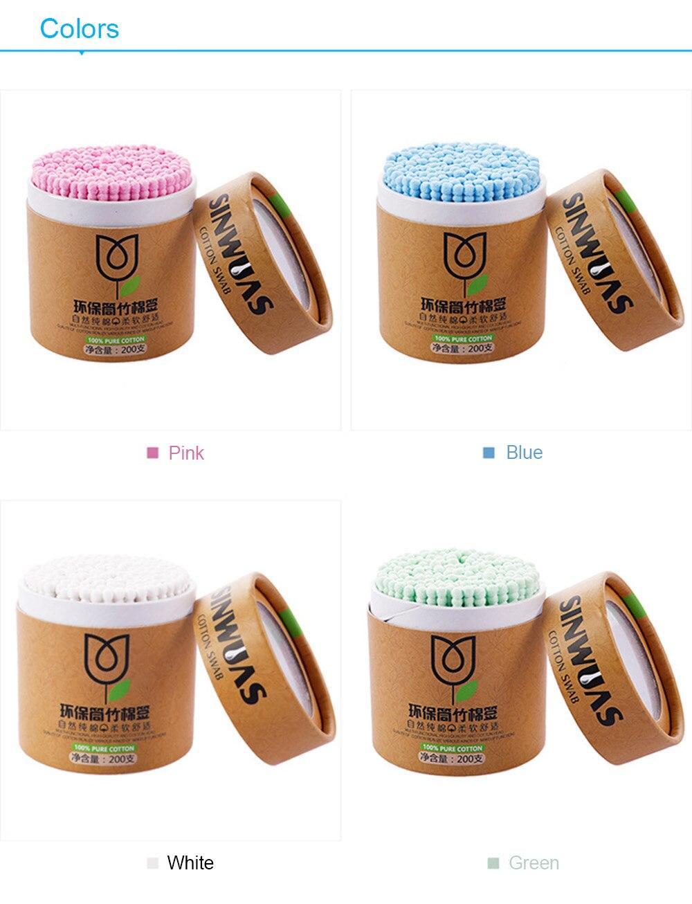 Boîte de 200 cotons-tiges BIO en Bambou et coton naturel 2