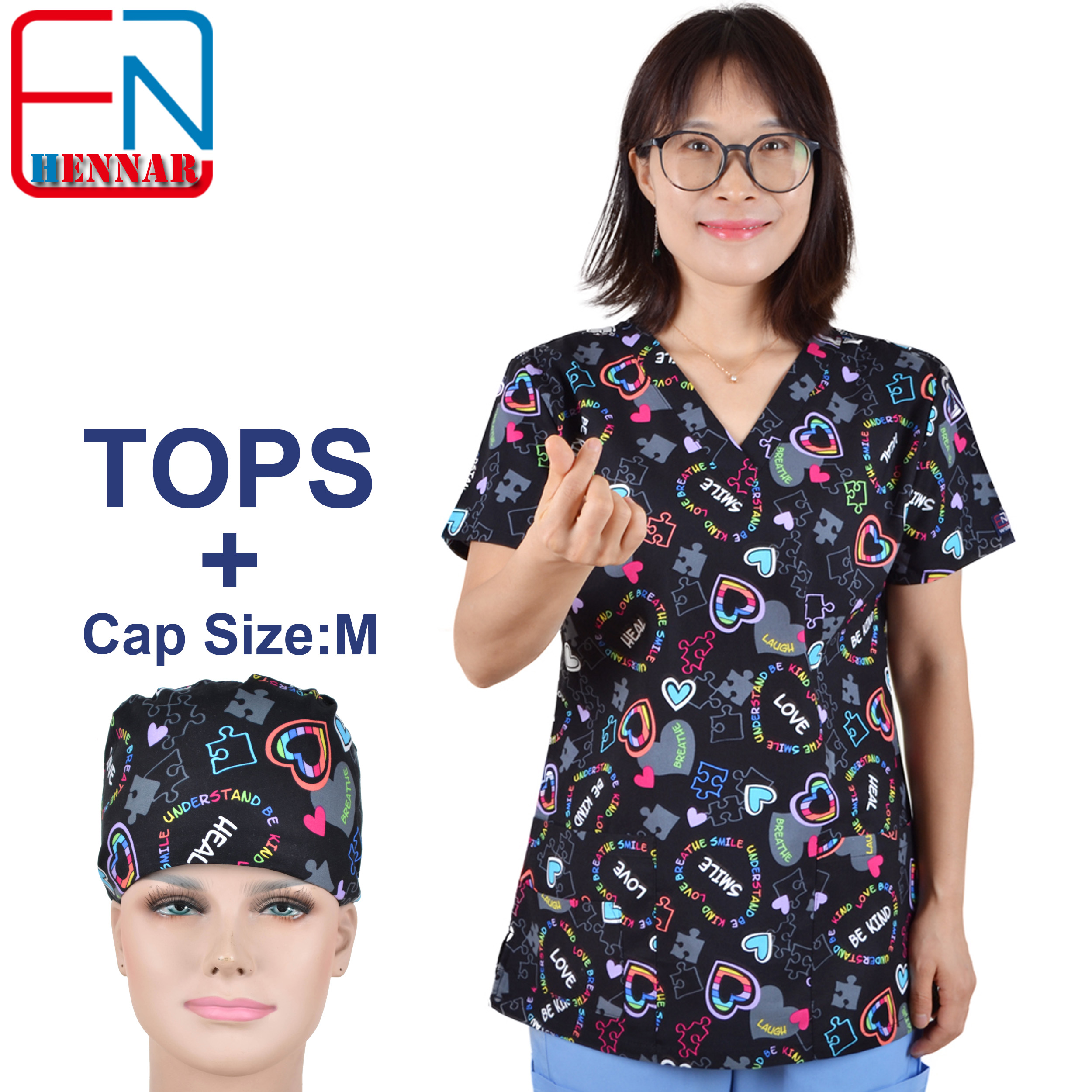1907 NEW Hennar Medical Scrubs Nursing Scrubs Women Scrubs Nurse Medical Uniformes Medicos Para Mujer Scrub Tops+ Caps
