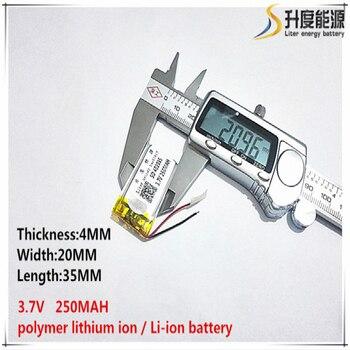 5 piezas [SD 3,7 V 250mAH [402035] batería de polímero de iones de litio/Li-ion para juguete, Banco de energía, GPS, mp3, mp4, teléfono móvil, altavoz