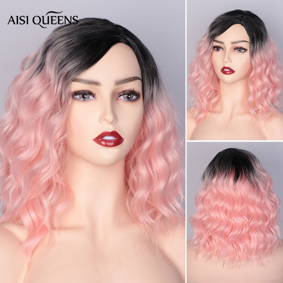 AISI QUEENS Water Wave Short Synthetic Wigs For Women Ombre Black And Orange Cosplay Bob Wig Blue Red Grey Blonde Pink Wig