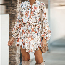 Vestido corto de gasa con volantes y hombros al descubierto para... Vestido elegante con estampado Vintage Irregular ropa informal