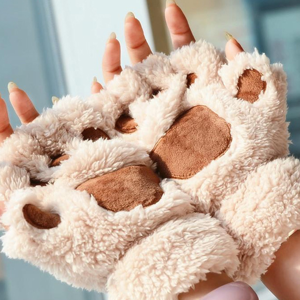 Women Cute Cat Claw Paw Mittens Warm Fingerless Fluffy Half Finger Gloves Winter Cartoon Animal Gloves Cotton Female Gloves Oc17