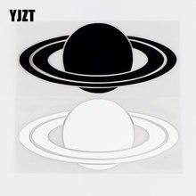 YJZT – autocollant en vinyle de la planète Saturn, 13.5x6CM, décor de voiture drôle noir/argent 10A-0400